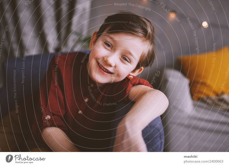happy cute stylish boy indoor portrait Lifestyle Joy Human being Child Toddler Boy (child) 3 - 8 years Infancy To enjoy Smiling Laughter Style Cute
