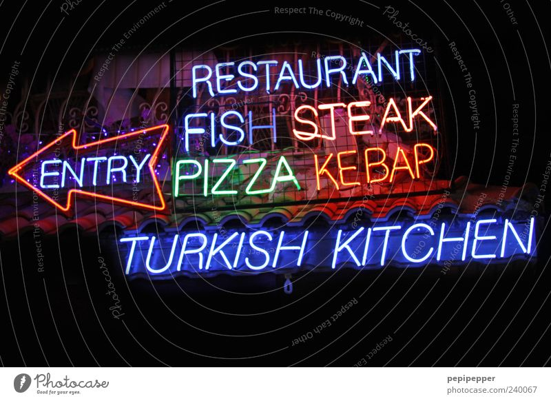 Nutrition Illuminate Characters Fish Kitchen Arrow Restaurant Entrance Turkey Pizza Fast food Night Neon sign Steak Multicoloured Gastronomy