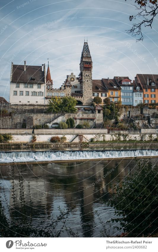 town Village Small Town Blue Multicoloured Switzerland River House (Residential Structure) Bremgarten Window Reflection Water Sky Old town Colour photo