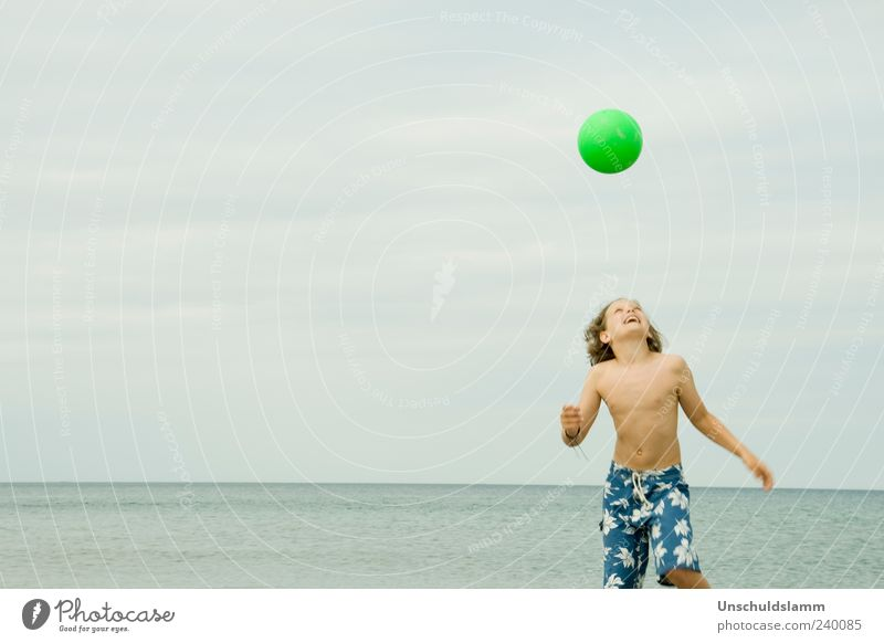 Human being Child Blue Green Vacation & Travel Summer Beach Joy Relaxation Life Boy (child) Happy Head Laughter Bright Body