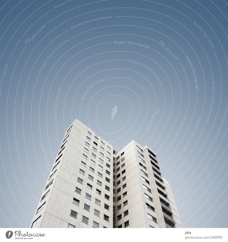 skyscraper Sky House (Residential Structure) High-rise Manmade structures Building Architecture Colour photo Exterior shot Deserted Copy Space left