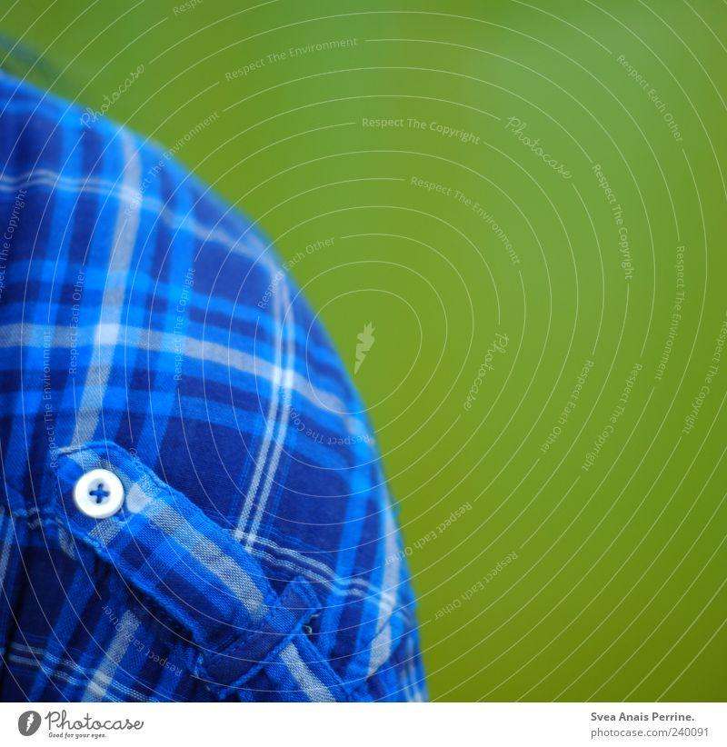 Human being Blue Shirt Hip & trendy Shoulder Checkered Buttons Buttonhole