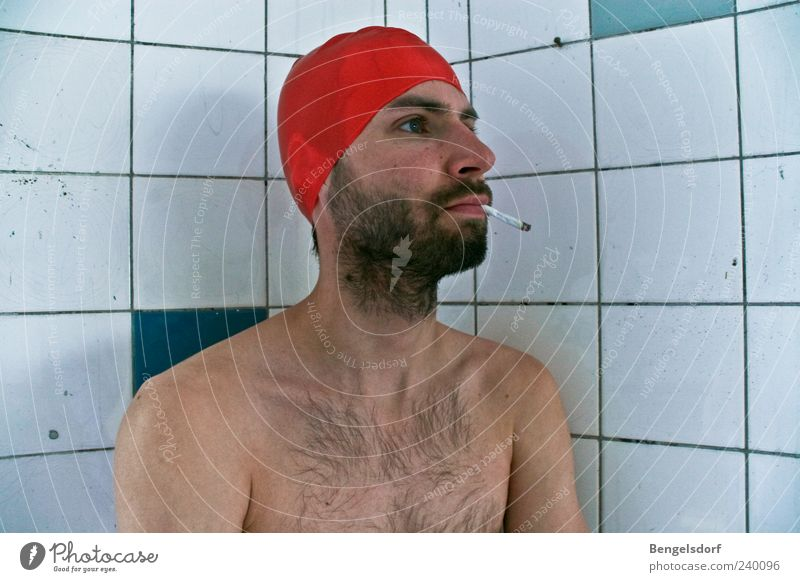 pool boy Human being Young man Youth (Young adults) Skin Chest 1 Bathing cap Facial hair Beard Hairy chest Smoking Wait Red Tile Addiction Nicotine Cigarette