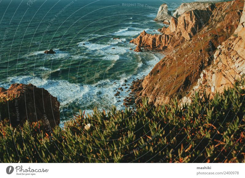 Exploring Portugal. Cabo da Roca ocean and mountains Beautiful Vacation & Travel Tourism Trip Adventure Ocean Mountain Nature Landscape Sky Rock Coast Stone