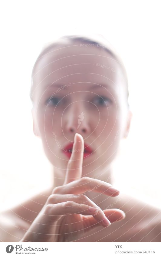 Hush! Human being Feminine Young woman Youth (Young adults) Woman Adults Head Face Mouth Hand Fingers 1 18 - 30 years Bright Calm Gesture Demanding Instruction