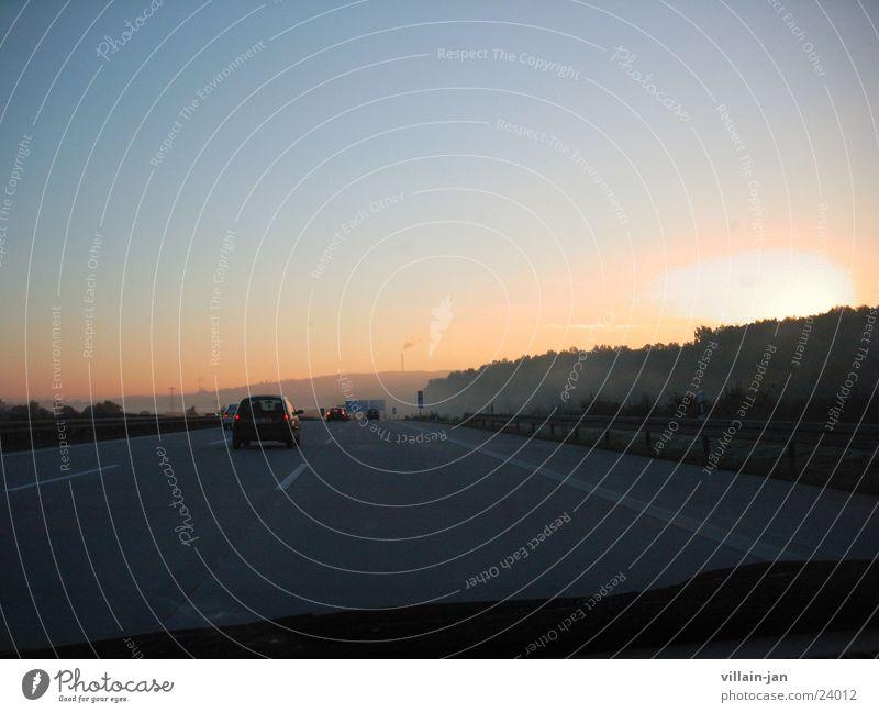 Sun Transport Driving Highway Sunrise