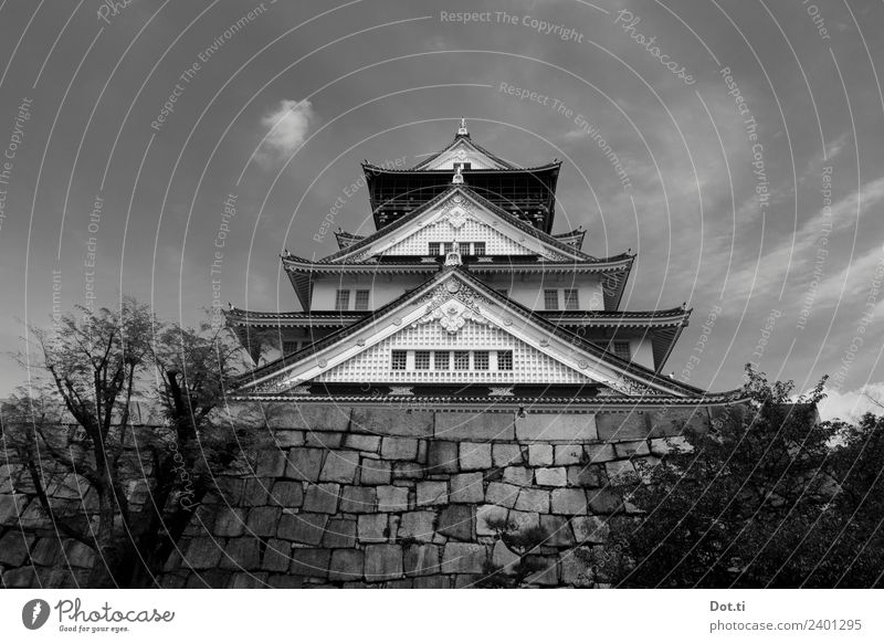 Osaka Castle Japan Asia Manmade structures Building Architecture Tourist Attraction Landmark Famousness Tradition Massive Bastion Pagodal roof