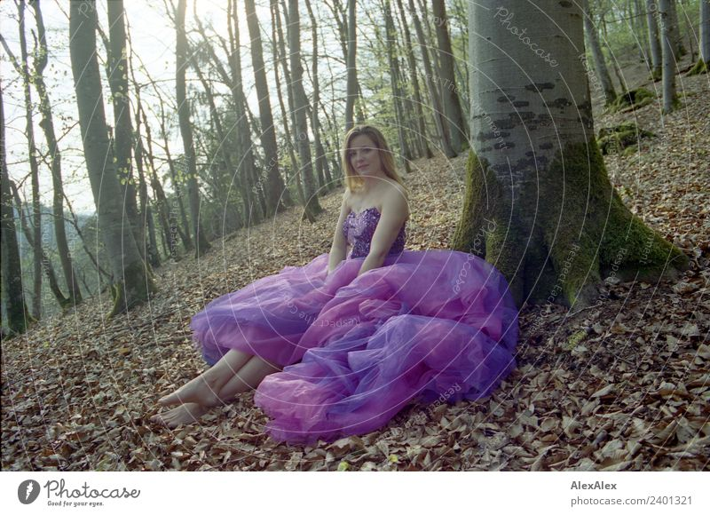 Fairy in purple wedding dress in the forest 6 - Purple mood forest fairy Lifestyle Luxury Elegant Style Joy Beautiful Relaxation Trip Summer Young woman