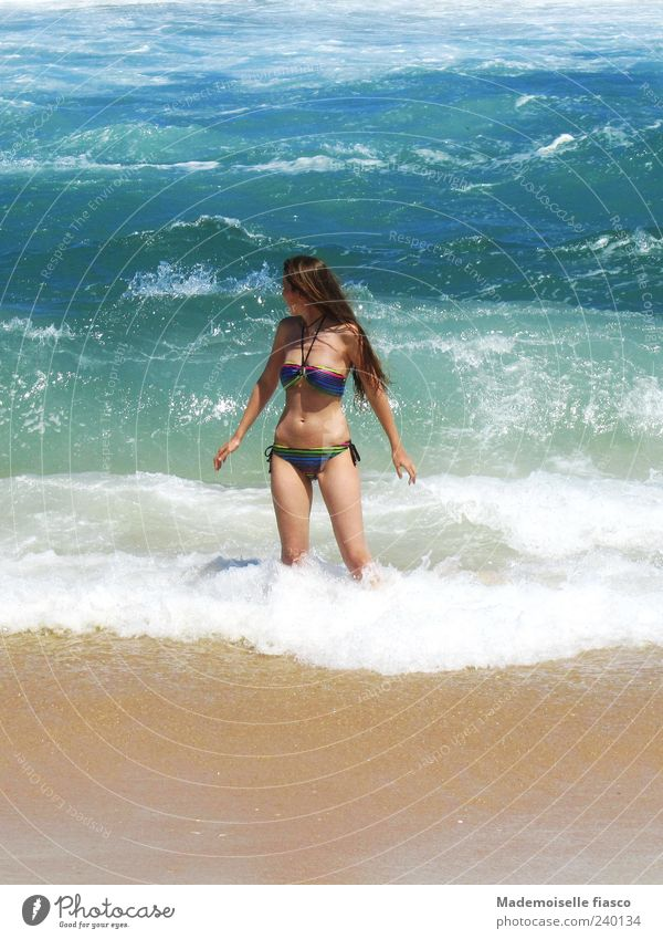 Human being Youth (Young adults) Vacation & Travel Ocean Young woman Joy Beach 18 - 30 years Adults Feminine Freedom Swimming & Bathing Leisure and hobbies Waves Skin Beautiful weather