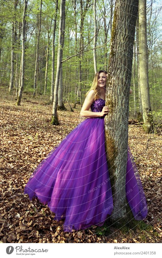 Fairy in purple wedding dress in the forest 3 - Purple mood forest fairy Lifestyle Elegant Style Beautiful Young woman Youth (Young adults) 18 - 30 years Adults