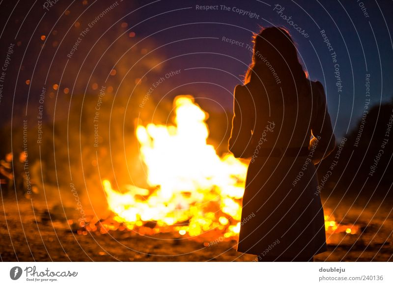 fireplace Fire Warmth Light Wood Burn Fireplace St. John's fire Summer Summer solstice Woman Lady Dress Silhouette Human being Together Night Dark Rear view