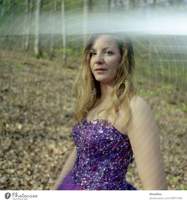 Fairy in purple wedding dress in the forest 7 - Purple mood forest fairy Elegant Style Beautiful Summer Young woman Youth (Young adults) 18 - 30 years Adults
