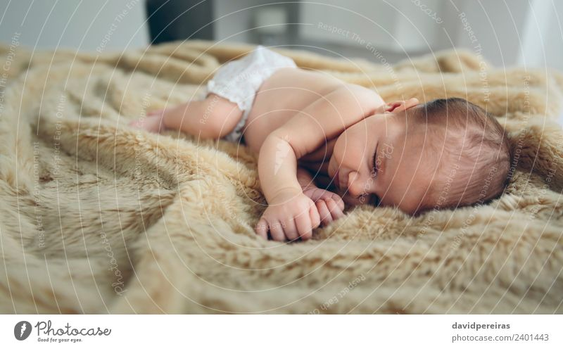 Baby sleeping on a blanket Woman Child Human being Naked Beautiful Calm Adults Warmth Small Copy Space Infancy Authentic Cute Sleep Home