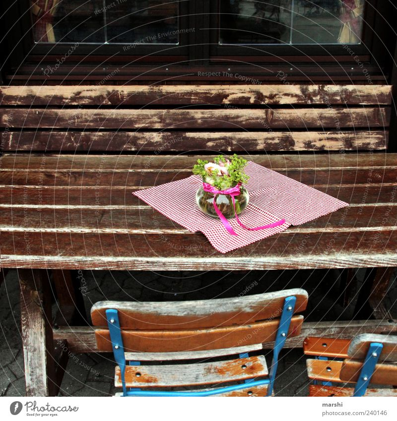 beer garden Leisure and hobbies Brown Beer garden Furniture Wood Table Chair Rustic Flower Vase Relaxation Colour photo Exterior shot Decoration Tablecloth