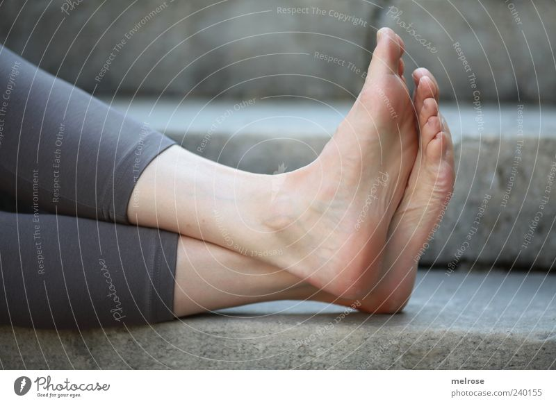 Human being Woman Relaxation Calm Adults Feminine Gray Stone Legs Feet Stairs Contentment Sit Well-being Barefoot Toes