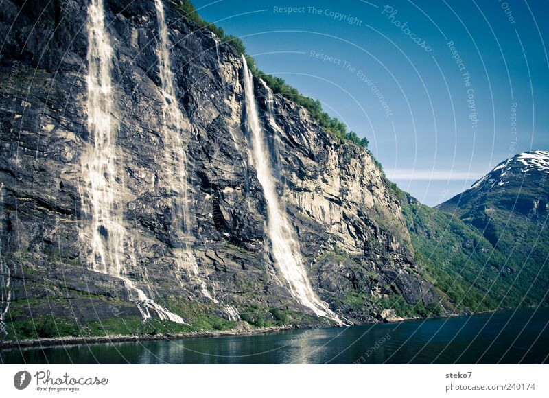 Nature Blue Water Vacation & Travel Green Landscape Gray Stone Rock Card Snowcapped peak Cloudless sky Norway Waterfall Fjord Geirangerfjord