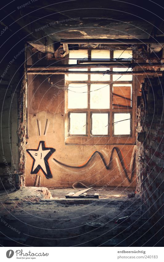 Follow your star Life Deserted Industrial plant Factory Warehouse Wall (barrier) Wall (building) Window Graffiti Star (Symbol) Flying Hope Puzzle Desire Dark
