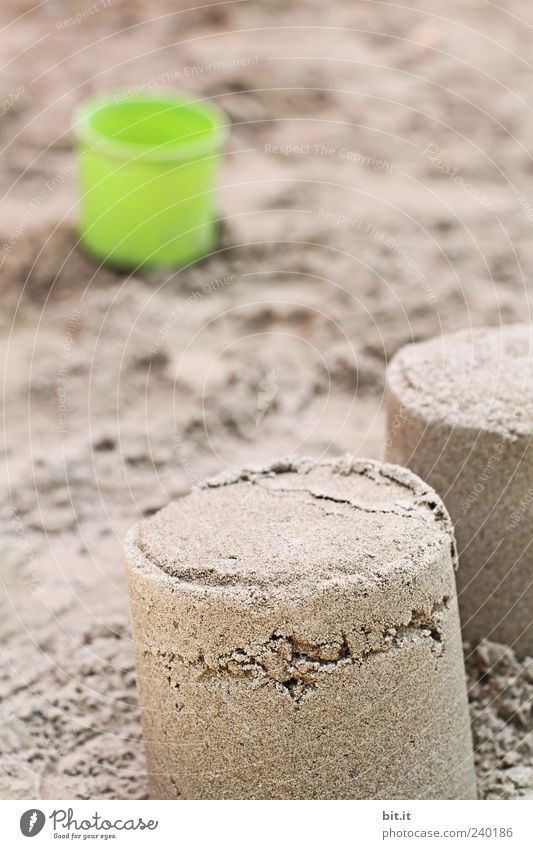 on the local beach... Playing Sand natural Brown Sandpit Sandcastle Sand cake Bucket Children's game Playground Toys Plastic Exterior shot Structures and shapes