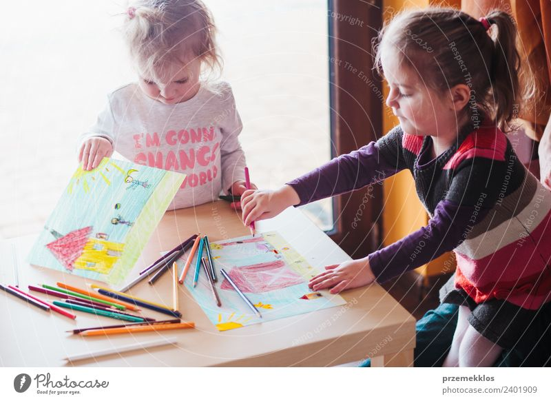 Two little girls drawing the colorful pictures Lifestyle Joy Happy Handcrafts Table Education Kindergarten Child School Craft (trade) Human being Girl Sister