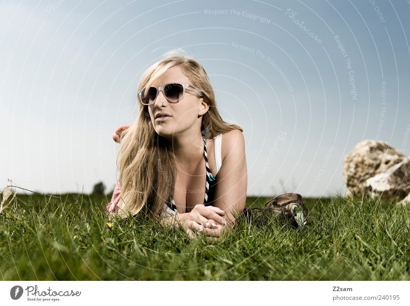 Human being Youth (Young adults) Beautiful Summer Joy Calm Adults Relaxation Meadow Feminine Grass Freedom Style Young woman Contentment Blonde