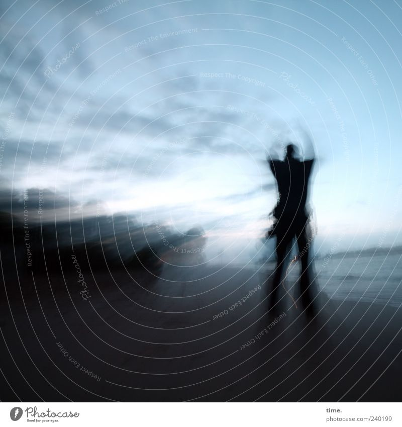 Human being Sky Man Nature Blue Water Beach Adults Landscape Dark Life Movement Horizon Moody Arm Masculine