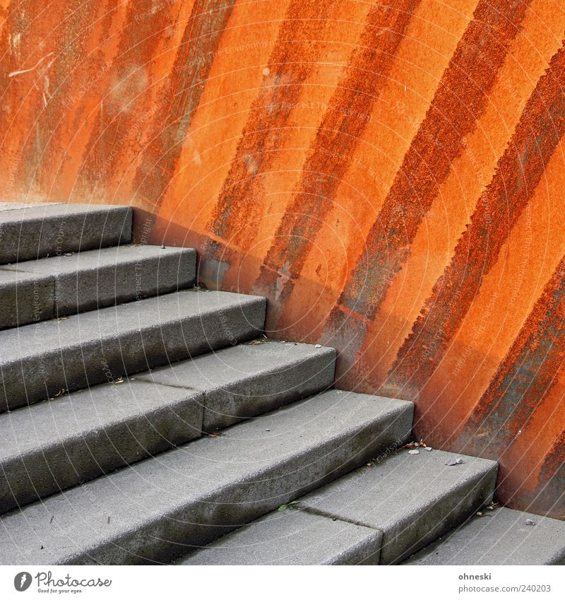 Staircase in front of grate Wall (barrier) Wall (building) Stairs Concrete Metal Steel Rust Line Stripe Old Decline Colour photo Exterior shot Pattern
