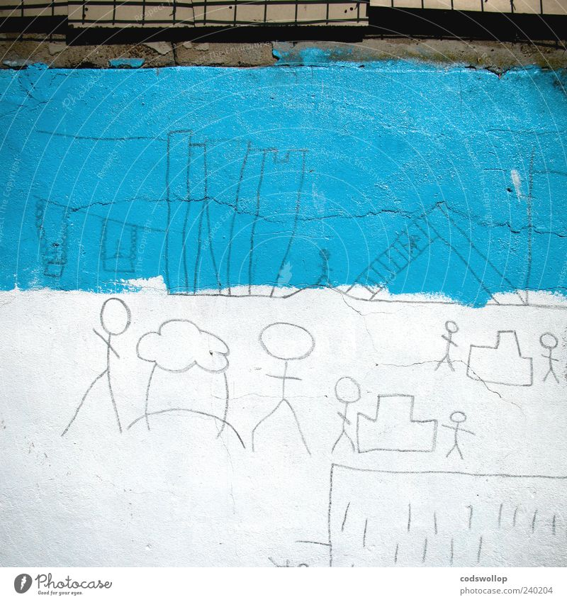 Blue White Joy Wall (building) Playing Wall (barrier) Art Infancy City life Cloudless sky Playground Street art Mural painting Culture Colour Stick figure