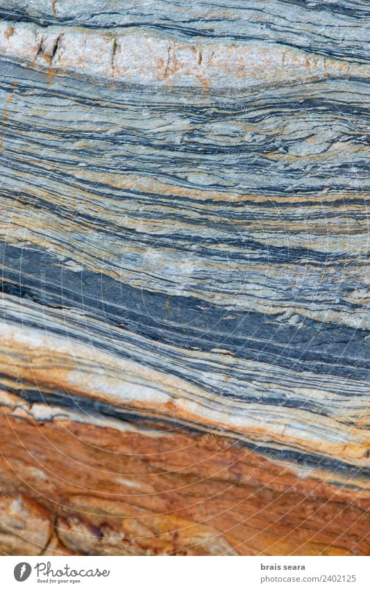 Sedimentary rocks texture Vacation & Travel Tourism Beach Ocean Science & Research Geology Art Environment Nature Earth Coast Stone Old Natural Blue Orange