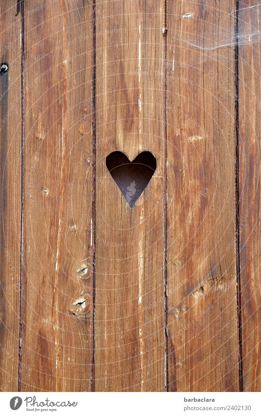 timeless | Herzerl Facade Door Wood Heart Old Retro Brown Emotions Safety Protection Safety (feeling of) Romance Sustainability Colour photo Exterior shot