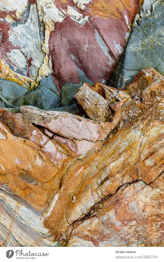 Sedimentary rocks texture Vacation & Travel Tourism Beach Ocean Science & Research Geology Geologist Artist Environment Nature Earth Coast Blue Yellow Red