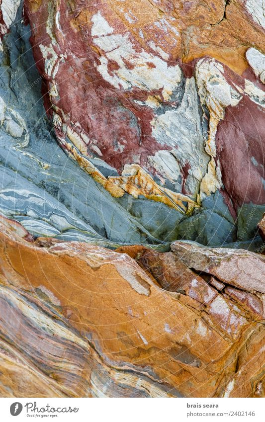 Sedimentary rocks texture Nature Blue Colour Ocean Red Beach Yellow Environment Background picture Coast Art Stone Earth Rock Design