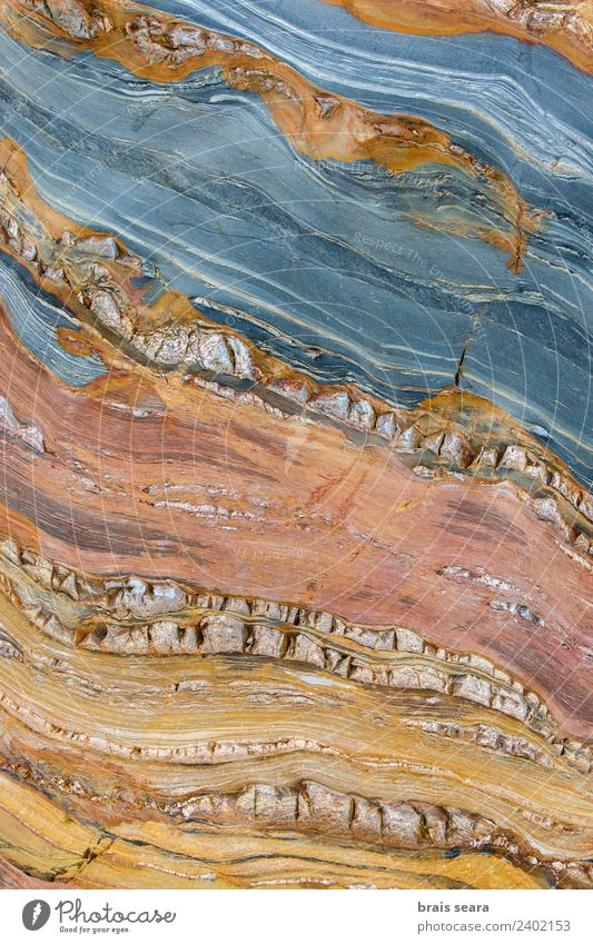 Sedimentary rocks texture Beach Ocean Science & Research Geologist Geology Environment Nature Earth Coast Spain Blue Yellow Red Education Colour Serene Idea Art
