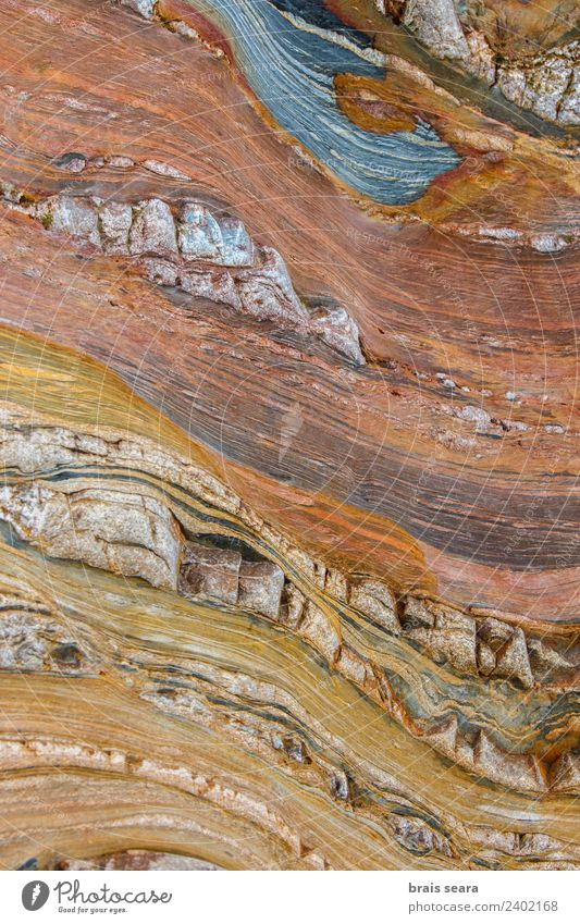 Sedimentary rocks texture Beach Ocean Science & Research Geography Geology Geologist Art Environment Nature Earth Coast Stone Blue Yellow Red Serene Colour