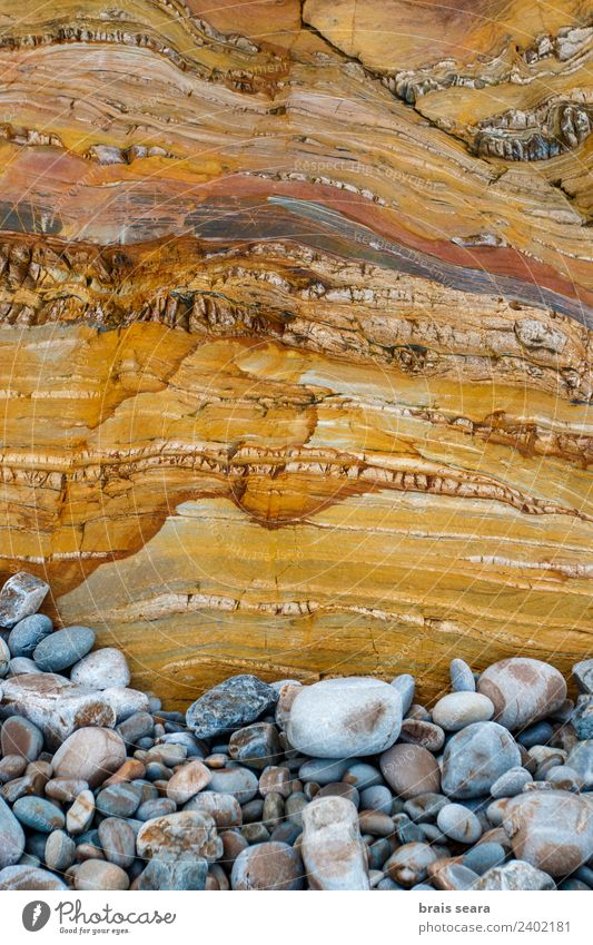 Sedimentary rocks texture Vacation & Travel Beach Ocean Science & Research Geography Geology Geologist Nature Coast Old Exceptional Broken Maritime Natural Blue