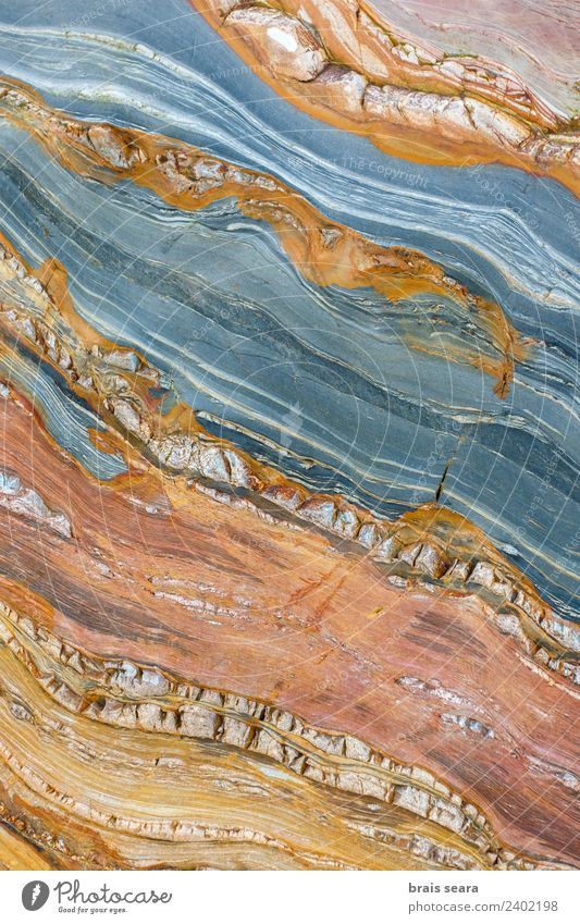 Sedimentary rocks texture Nature Blue Colour Ocean Red Beach Yellow Environment Background picture Natural Coast Art Earth Work and employment Europe
