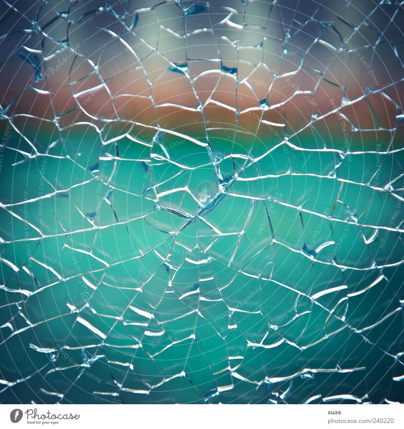 lucky hit Glass Jump Broken Blue Aggression Pane Destruction Vandalism Torn Safety Safety glass Line Burglar-proof Crack & Rip & Tear Disaster Colour photo