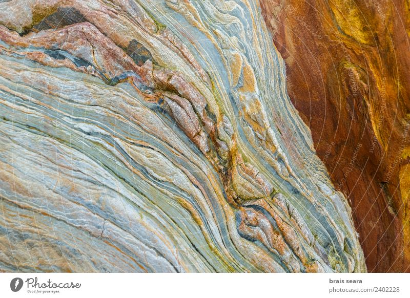 Sedimentary rocks texture Nature Blue Colour Ocean Beach Yellow Environment Background picture Natural Coast Art Stone Earth Orange Design
