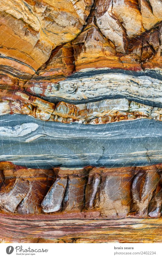 Sedimentary rocks texture Nature Blue Colour Ocean Red Beach Yellow Environment Background picture Coast Art Stone Earth Design Europe