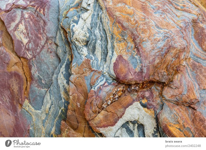 Sedimentary rocks texture Nature Blue Colour Ocean Red Beach Yellow Environment Background picture Natural Coast Art Stone Earth Design