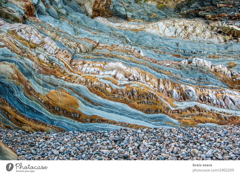 Sedimentary rocks texture Nature Blue Colour Ocean Beach Environment Background picture Coast Art Stone Earth Rock Europe Tourist Attraction Education
