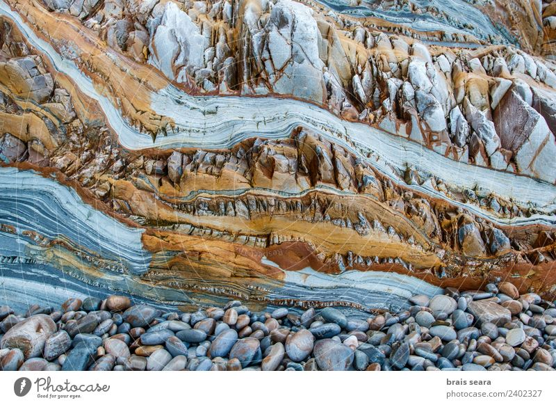 Sedimentary rocks texture Nature Colour Ocean Beach Environment Background picture Coast Stone Earth Rock Europe Education Profession Spain Turquoise