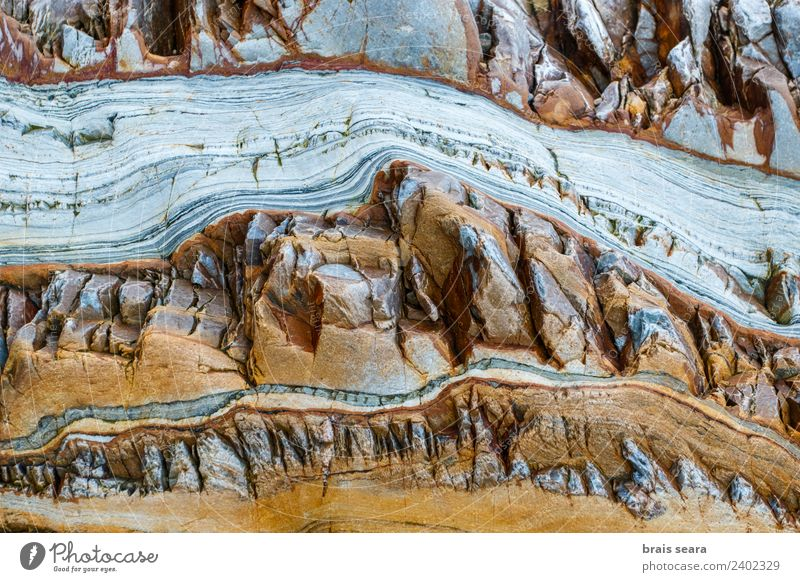 Sedimentary rocks texture Nature Blue Colour Ocean Beach Yellow Environment Background picture Natural Coast Art Stone Earth Design Europe