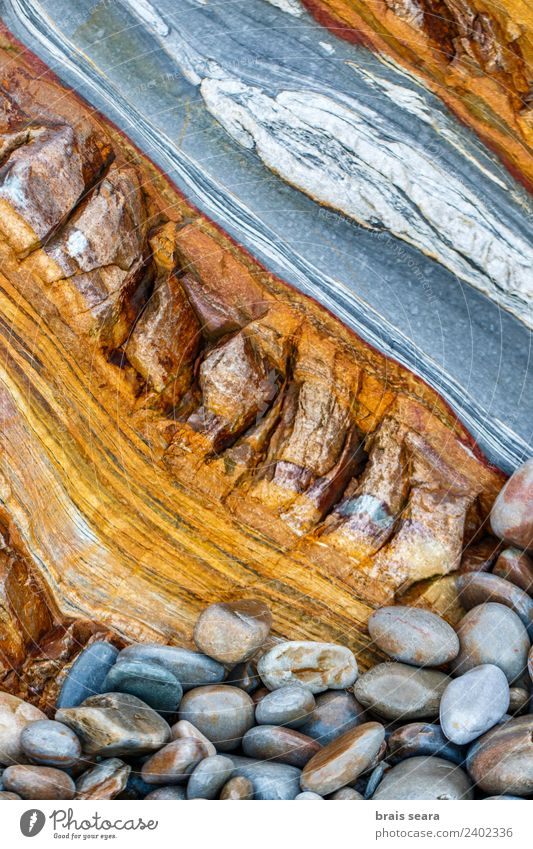 Sedimentary rocks texture Nature Colour Ocean Beach Environment Background picture Coast Stone Earth Rock Europe Education Profession Spain Science & Research