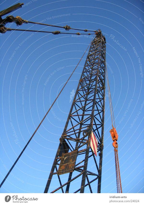Sky Blue Metal Tall Industry Steel Crane Portrait format