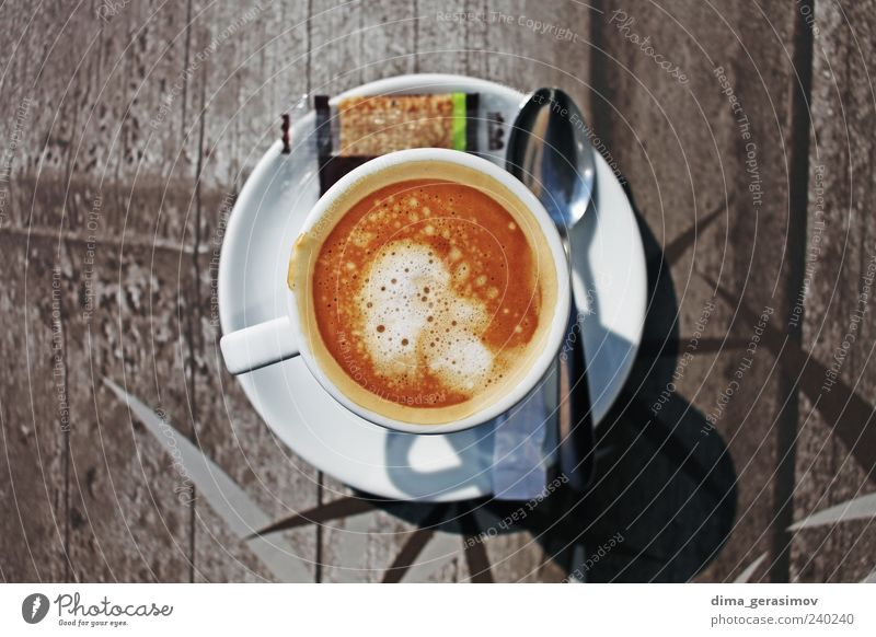 Cup of coffee Breakfast Beverage Drinking Hot drink Coffee Latte macchiato Espresso Mug Spoon Smoking France Brown Colour photo Exterior shot Morning Contrast
