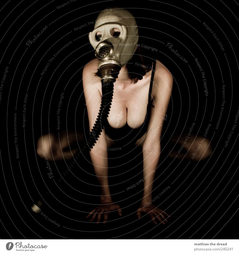 Act III Human being Young woman Youth (Young adults) Protective clothing Crouch Exceptional Uniqueness Beautiful Respirator mask Underwear Chest Low neckline