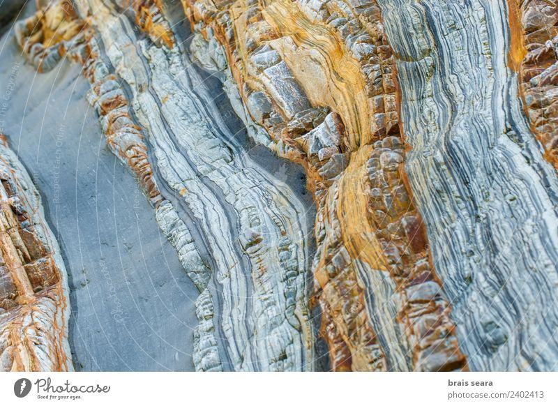 Sedimentary rocks texture Beach Ocean Wallpaper Education Science & Research Geology Profession Geologist Environment Nature Earth Rock Coast Stone Blue Yellow