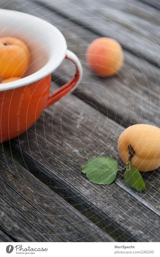 apricots Fruit Apricot Bowl Pot Wood Esthetic Green Wooden table Mature Fresh Colour photo Exterior shot Shallow depth of field Orange Lie Blur