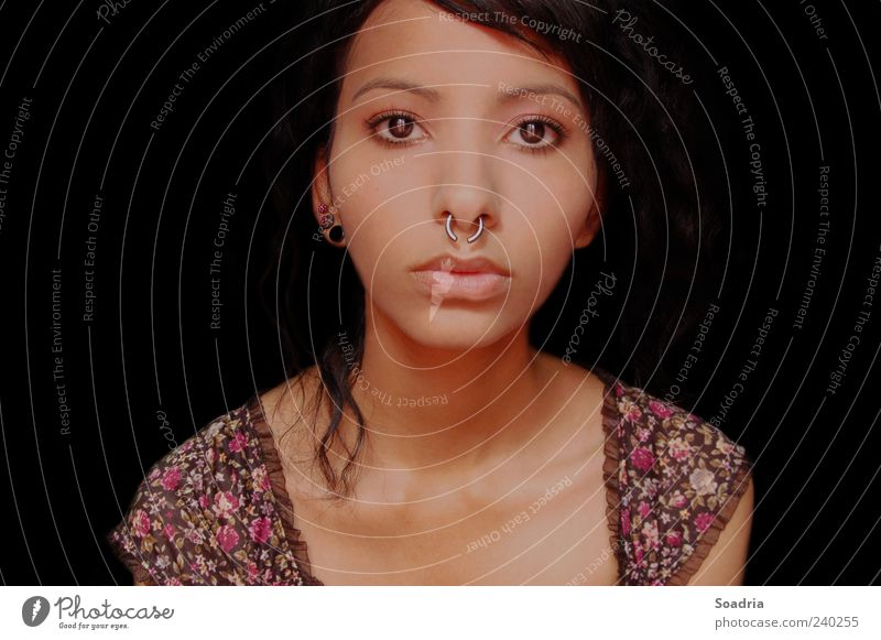 View into the void... Face Young woman Youth (Young adults) Woman Adults Eyes 1 Human being 18 - 30 years Jewellery Piercing Looking Emotions Colour photo