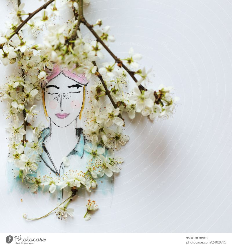 hello spring Handicraft Draw Decoration Feminine Young woman Youth (Young adults) Nature Plant Spring Blossom Wild plant Accessory Paper Wood Breathe Relaxation
